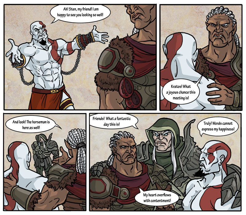 I lost at the Dragon Age comic. You know Sten and his cookie thing?