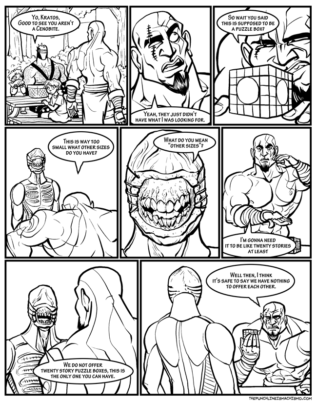The punchline is Kratos doesn't flip out