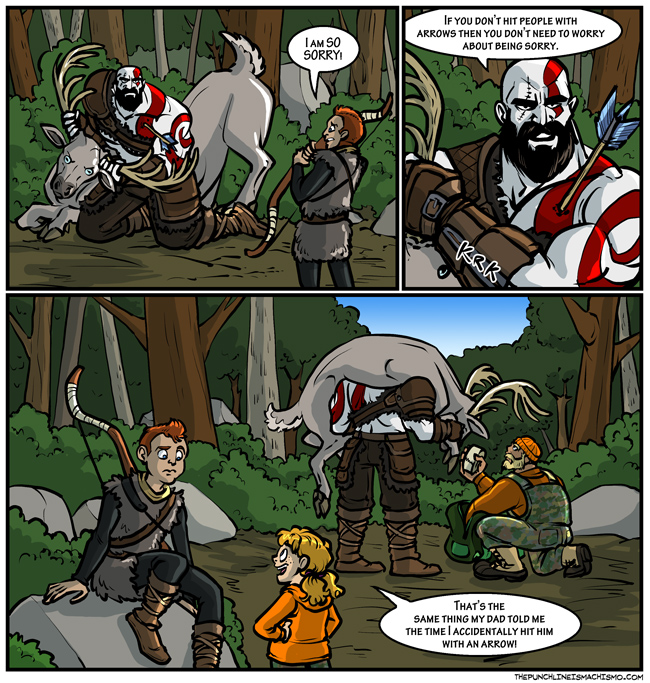 Children are apparently something you can have around Kratos. Sometimes.